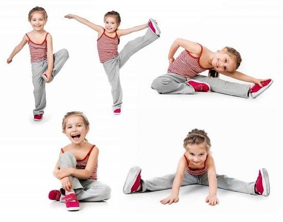 девочка делает гимнастику